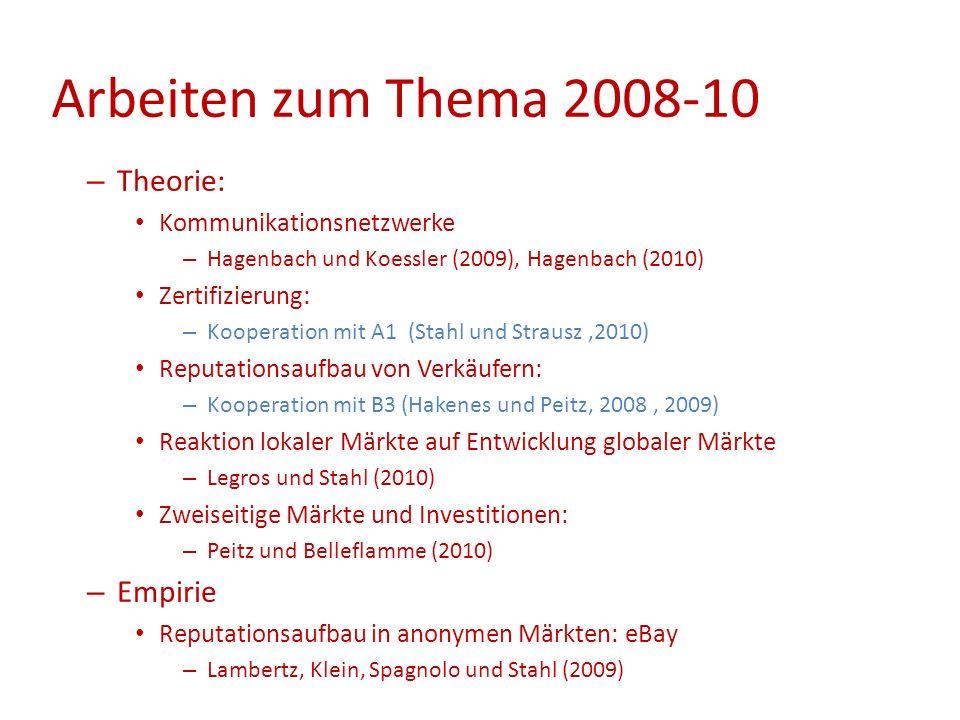 – Theorie: Kommunikationsnetzwerke – Hagenbach und Koessler (2009), Hagenbach (2010) Zertifizierung: – Kooperation mit A1 (Stahl und Strausz,2010) Rep