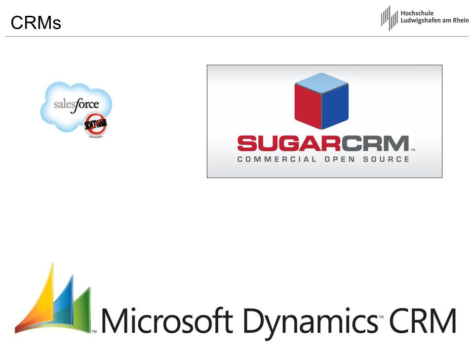 CRMs - Salesforce Vorteile –Skalierbar (webbased) –Dynamische Anpassung des Leistungsangebotes Nachteile –Permanente Internet Connection –Lizenzmodell (Pro User, Pro Monat) –Datensicherheit (Cloud) –Schnittstellen (Webservice API)