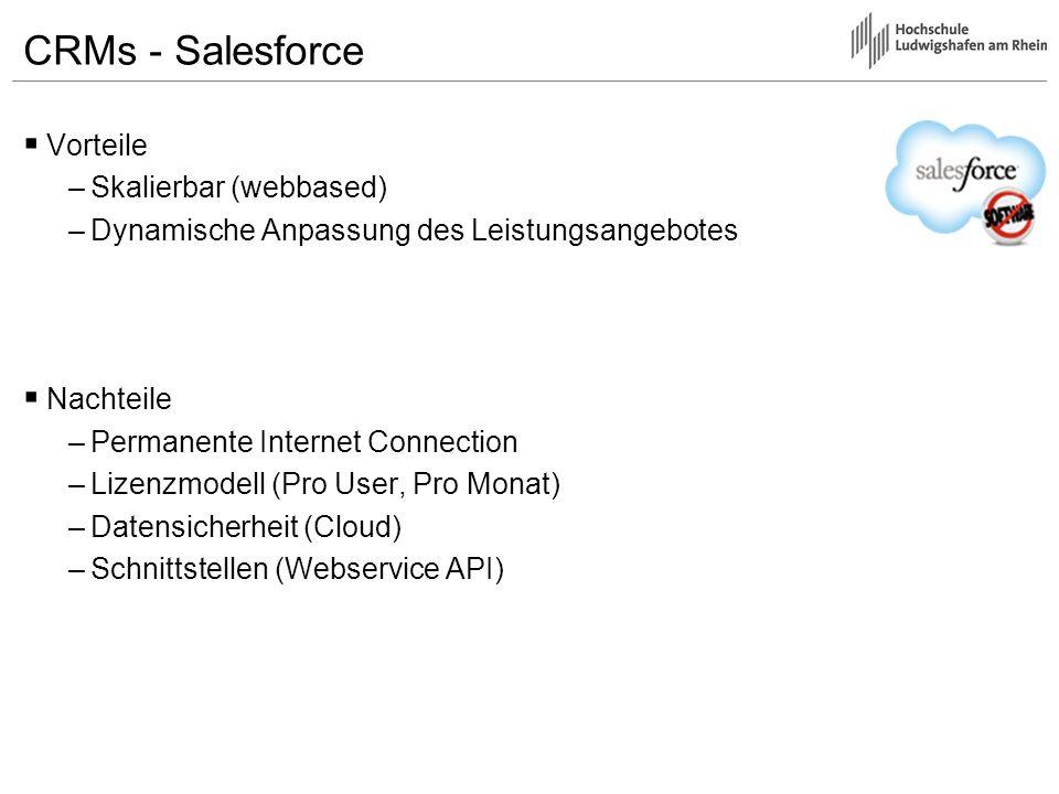 CRMs - Salesforce Vorteile –Skalierbar (webbased) –Dynamische Anpassung des Leistungsangebotes Nachteile –Permanente Internet Connection –Lizenzmodell