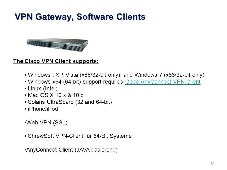 4 VPN-Gateway, VPN-Session Institutsnetz (GÖNET) unverschlüsselt Internet GÖNET- Firewall (FW) verschlüsselt VPN-Gateway verschlüsselt IP-Adresse des Benutzers: 98.120.55.67 (beliebiger Provider) Zugewiesene IP-Adresse des VPN-Tunnels: 134.76.2.1 Benutzer IP-Pool: 134.76.2.0-253 verschlüsselt Benutzer 134.76.2.1 Integrierte Firewall