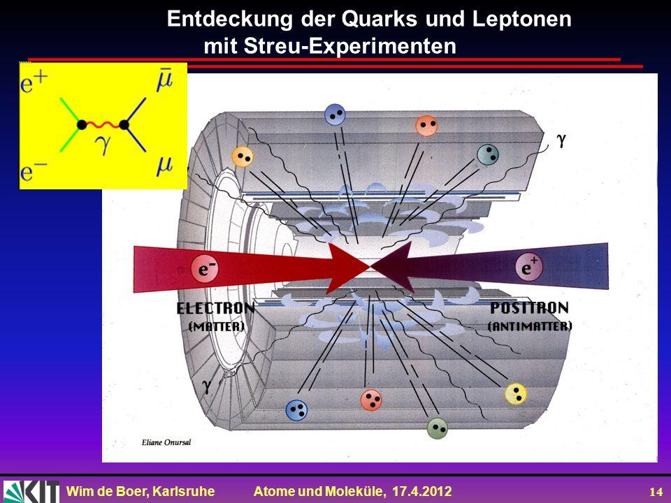 Wim de Boer, Karlsruhe Atome und Moleküle, 17.4.2012 14 Entdeckung der Quarks und Leptonen mit Streu-Experimenten