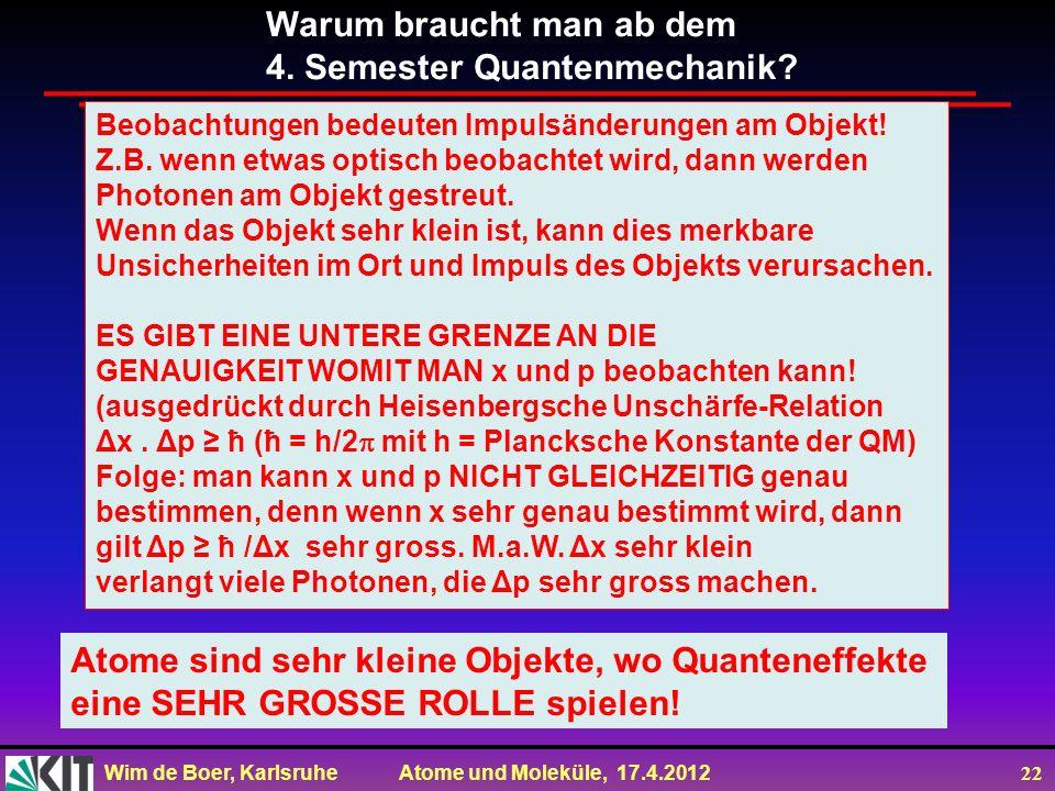 Wim de Boer, Karlsruhe Atome und Moleküle, 17.4.2012 22 Warum braucht man ab dem 4. Semester Quantenmechanik? Beobachtungen bedeuten Impulsänderungen