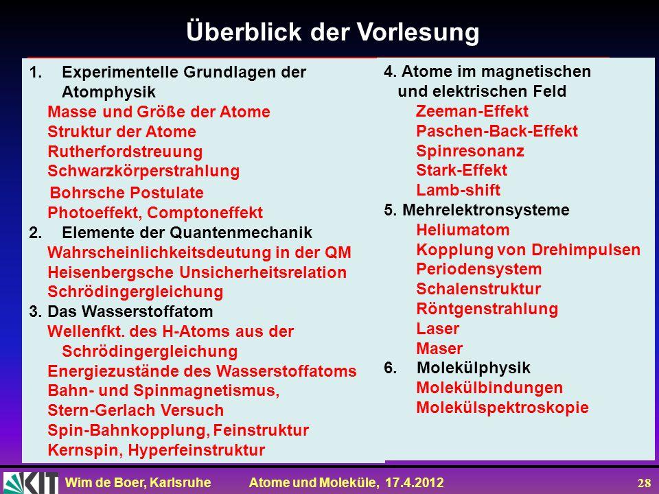 Wim de Boer, Karlsruhe Atome und Moleküle, 17.4.2012 28 Überblick der Vorlesung 1.Experimentelle Grundlagen der Atomphysik Masse und Größe der Atome S