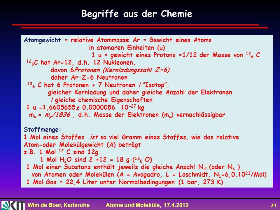 Wim de Boer, Karlsruhe Atome und Moleküle, 17.4.2012 31 Begriffe aus der Chemie Atomgewicht = relative Atommasse Ar = Gewicht eines Atoms in atomaren