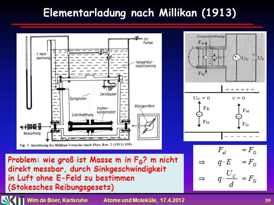 Wim de Boer, Karlsruhe Atome und Moleküle, 17.4.2012 39 Elementarladung nach Millikan (1913) Problem: wie groß ist Masse m in F G ? m nicht direkt mes