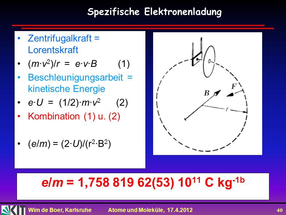 Wim de Boer, Karlsruhe Atome und Moleküle, 17.4.2012 40 e/m = 1,758 819 62(53) 10 11 C kg -1b Zentrifugalkraft = Lorentskraft (m·v 2 )/r = e·v·B (1) B