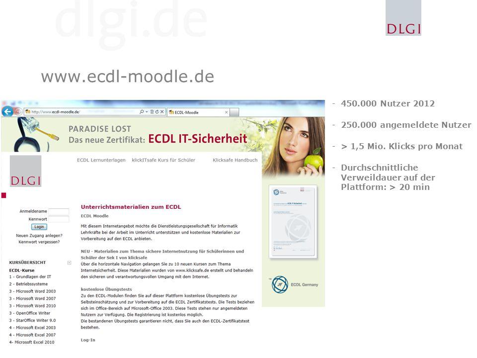 www.ecdl-moodle.de -450.000 Nutzer 2012 -250.000 angemeldete Nutzer -> 1,5 Mio.