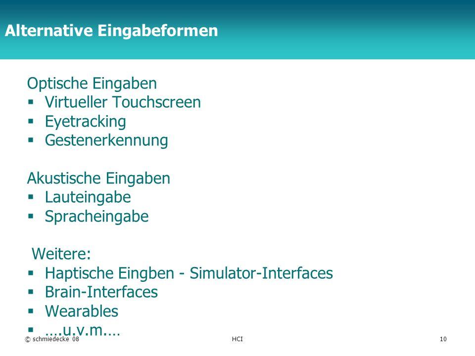 TFH Berlin Alternative Eingabeformen Optische Eingaben Virtueller Touchscreen Eyetracking Gestenerkennung Akustische Eingaben Lauteingabe Spracheingab