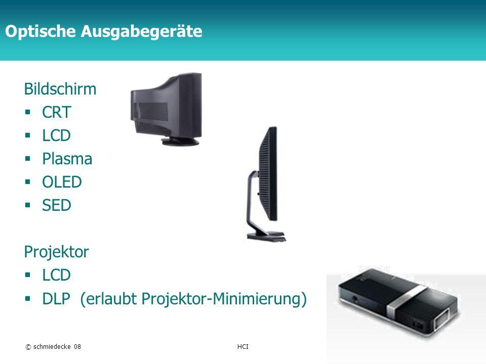 TFH Berlin Optische Ausgabegeräte Bildschirm CRT LCD Plasma OLED SED Projektor LCD DLP (erlaubt Projektor-Minimierung) © schmiedecke 08HCI11