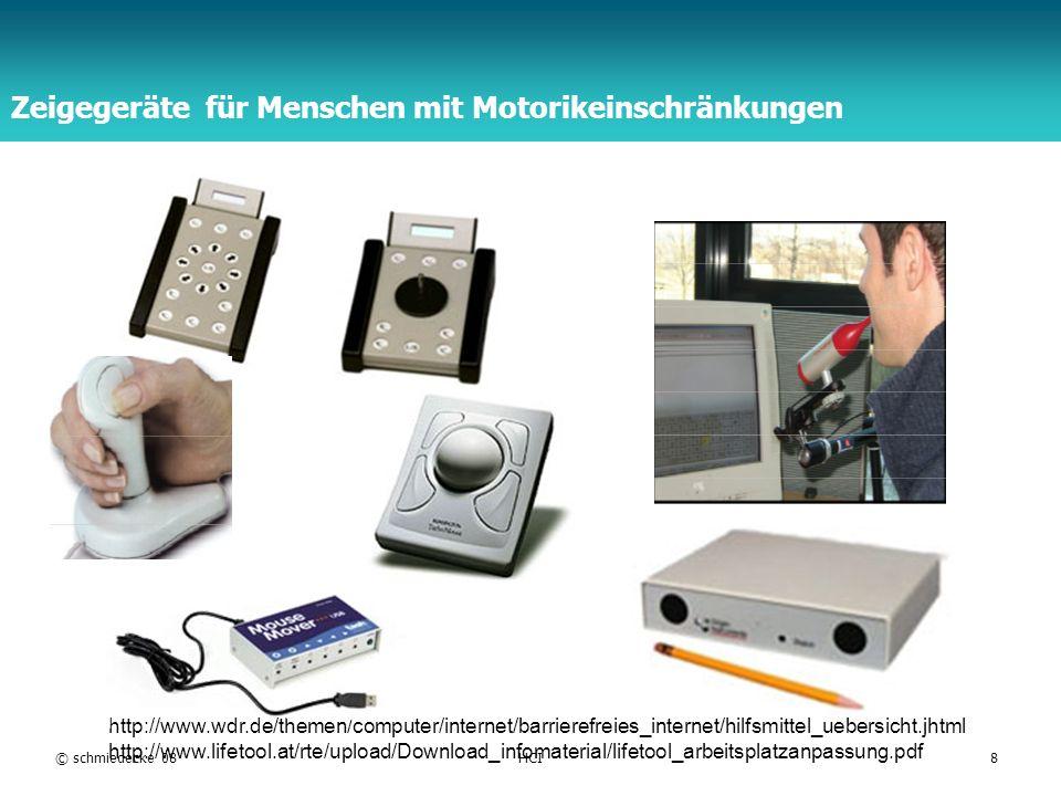 TFH Berlin Touchscreen und Bildschirmtablett (E/A-Integration) Technologien analog-resistiv kapazitiv Ultraschall Infrarot Vibration Kriterien: Kosten Robustheit Transparenz Bedienung © schmiedecke 08HCI9