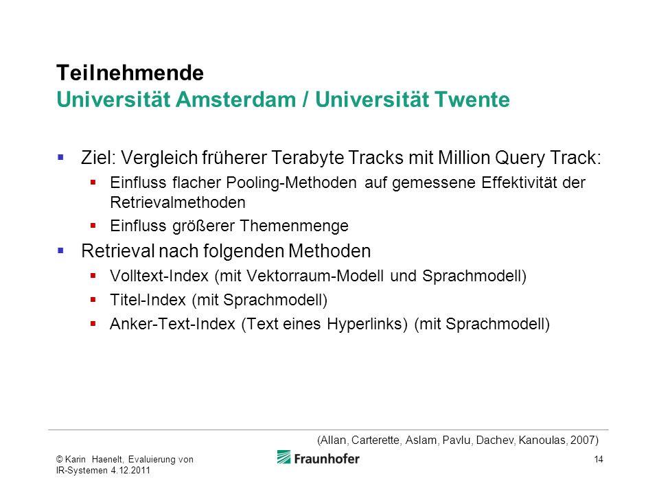 Teilnehmende Universität Amsterdam / Universität Twente Ziel: Vergleich früherer Terabyte Tracks mit Million Query Track: Einfluss flacher Pooling-Met