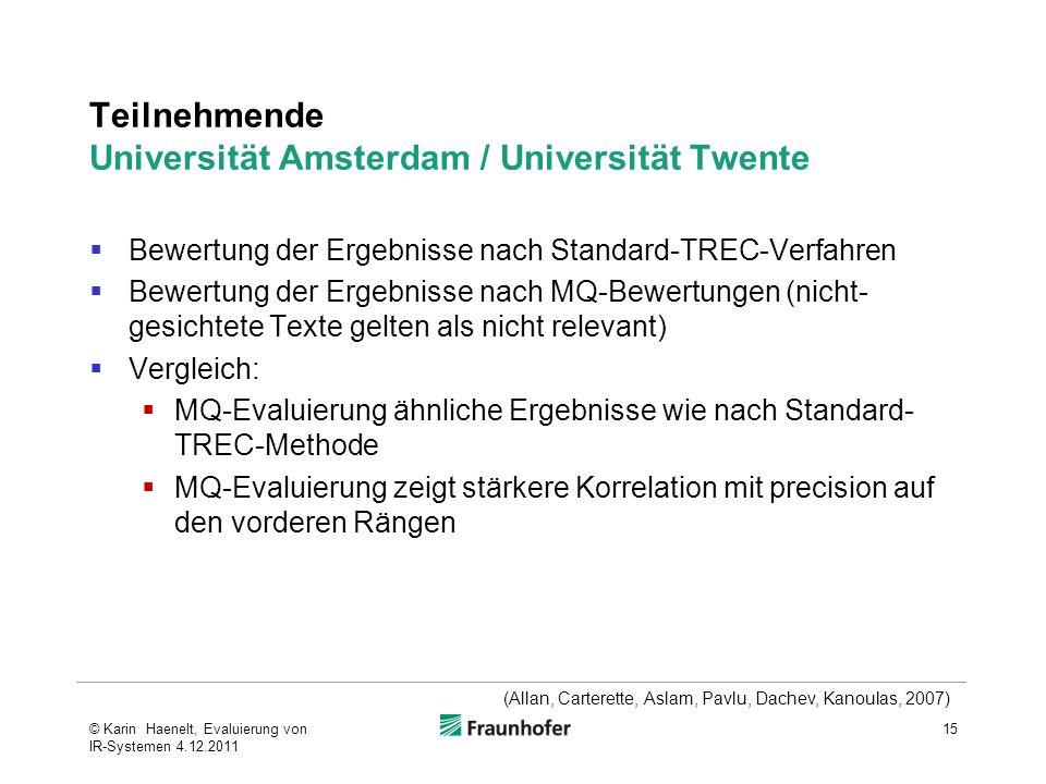 Teilnehmende Universität Amsterdam / Universität Twente Bewertung der Ergebnisse nach Standard-TREC-Verfahren Bewertung der Ergebnisse nach MQ-Bewertu