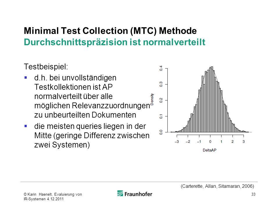 Minimal Test Collection (MTC) Methode Durchschnittspräzision ist normalverteilt Testbeispiel: d.h. bei unvollständigen Testkollektionen ist AP normalv