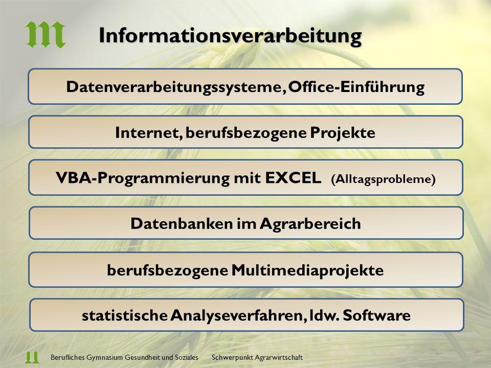 Berufliches Gymnasium Gesundheit und Soziales Schwerpunkt Agrarwirtschaft Betriebs- u.
