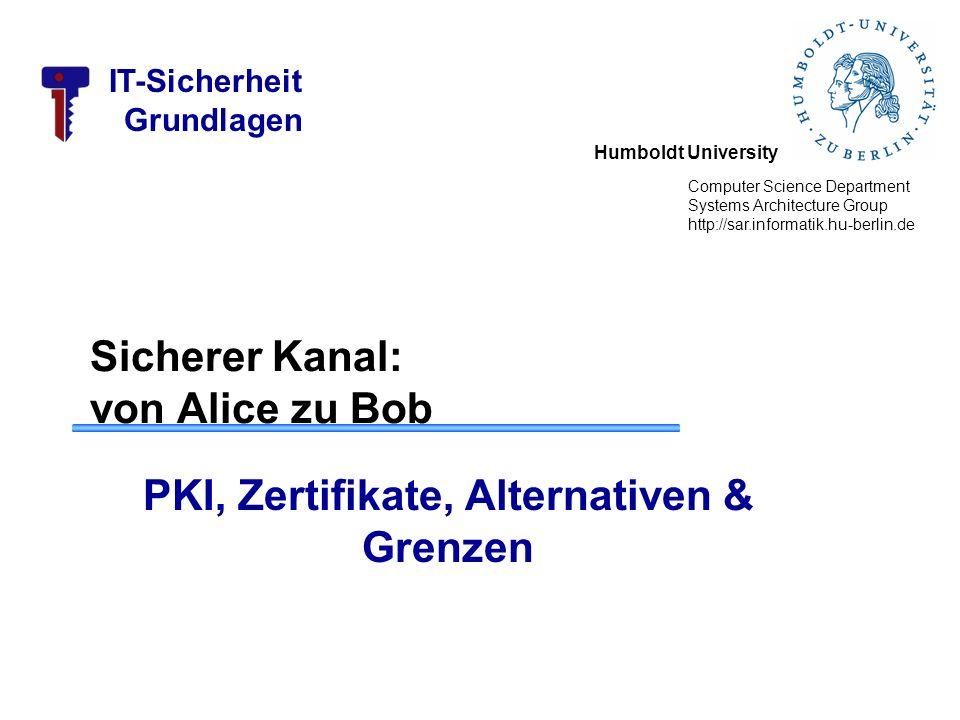 Humboldt University Computer Science Department Systems Architecture Group http://sar.informatik.hu-berlin.de IT-Sicherheit Grundlagen Sicherer Kanal: von Alice zu Bob PKI, Zertifikate, Alternativen & Grenzen