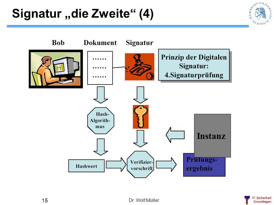 IT-Sicherheit Grundlagen Dr. Wolf Müller 15 Signatur die Zweite (4) Instanz