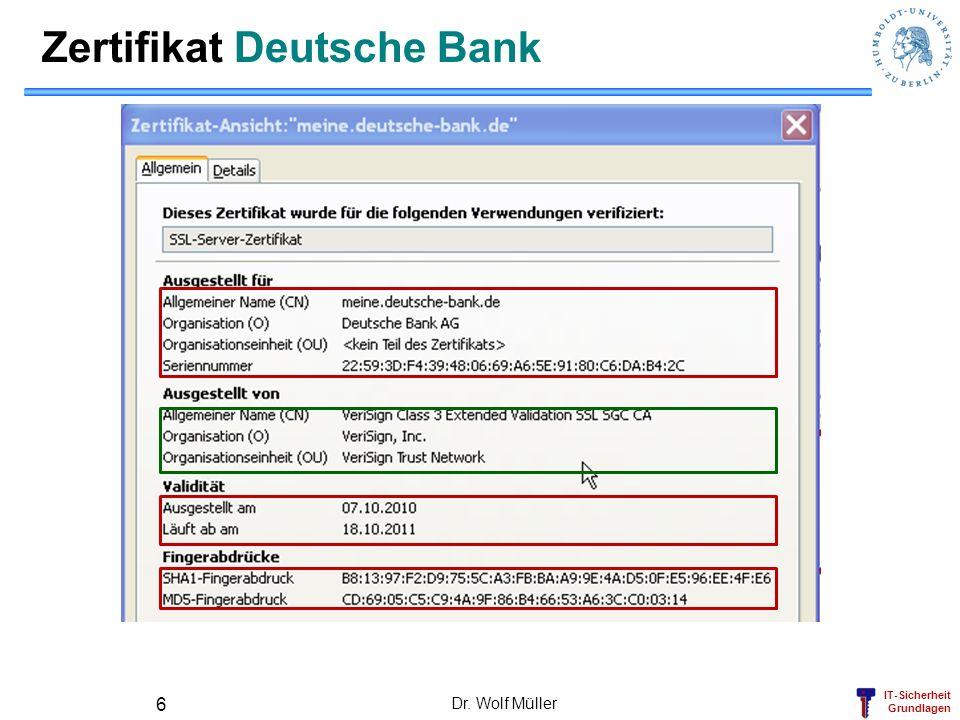 IT-Sicherheit Grundlagen Dr. Wolf Müller 6 Zertifikat Deutsche Bank