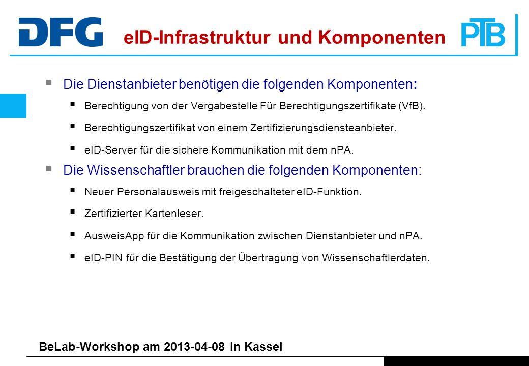 BeLab-Workshop am 2013-04-08 in Kassel Die Dienstanbieter benötigen die folgenden Komponenten: Berechtigung von der Vergabestelle Für Berechtigungszertifikate (VfB).
