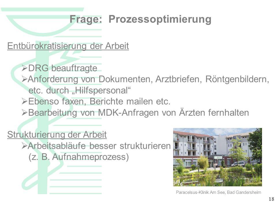 18 Frage: Prozessoptimierung Entbürokratisierung der Arbeit DRG beauftragte Anforderung von Dokumenten, Arztbriefen, Röntgenbildern, etc. durch Hilfsp