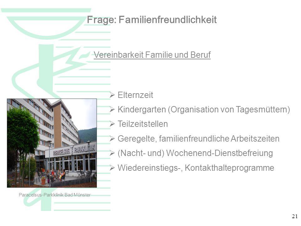 21 Vereinbarkeit Familie und Beruf Elternzeit Kindergarten (Organisation von Tagesmüttern) Teilzeitstellen Geregelte, familienfreundliche Arbeitszeite