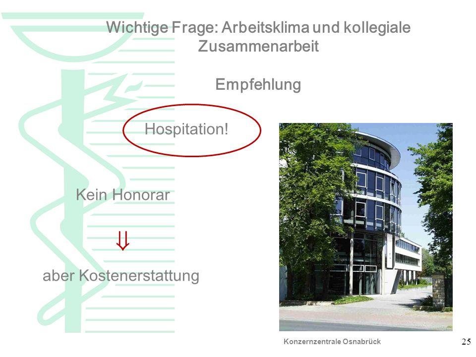 25 Empfehl ung Wichtige Frage: Arbeitsklima und kollegiale Zusammenarbeit Empfehlung Hospitation! Kein Honorar aber Kostenerstattung Konzernzentrale O