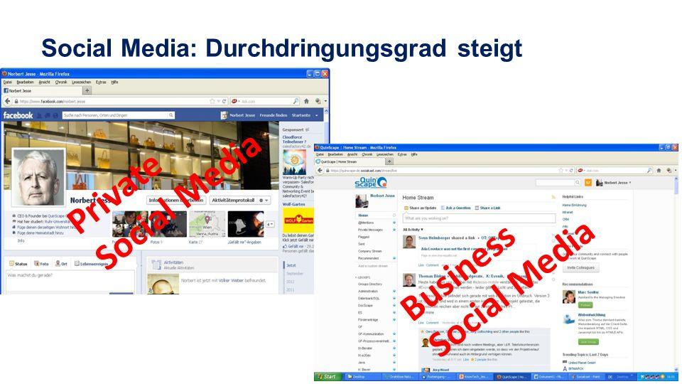 Private Social Media Business Social Media Social Media: Durchdringungsgrad steigt
