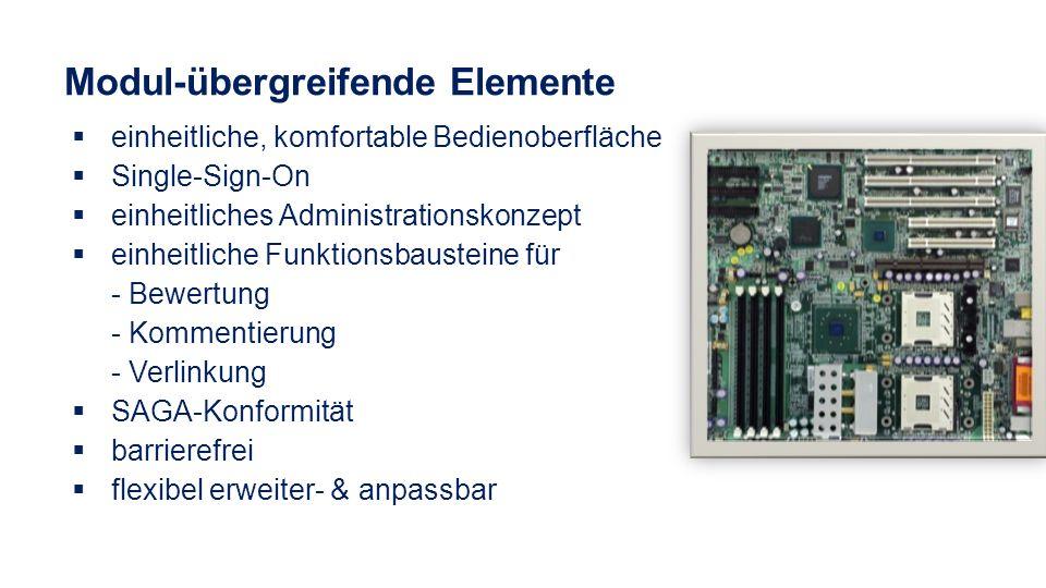 Modul-übergreifende Elemente einheitliche, komfortable Bedienoberfläche Single-Sign-On einheitliches Administrationskonzept einheitliche Funktionsbaus