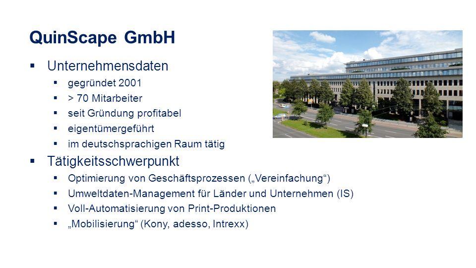 QuinScape GmbH Unternehmensdaten gegründet 2001 > 70 Mitarbeiter seit Gründung profitabel eigentümergeführt im deutschsprachigen Raum tätig Tätigkeits