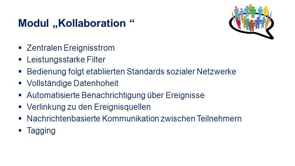 Modul Kollaboration Zentralen Ereignisstrom Leistungsstarke Filter Bedienung folgt etablierten Standards sozialer Netzwerke Vollständige Datenhoheit A