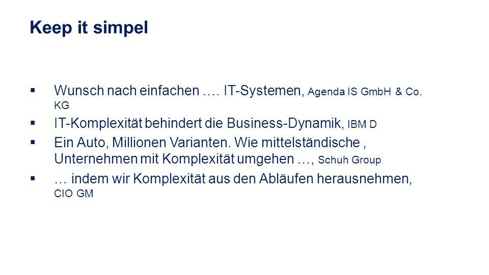 Wunsch nach einfachen …. IT-Systemen, Agenda IS GmbH & Co. KG IT-Komplexität behindert die Business-Dynamik, IBM D Ein Auto, Millionen Varianten. Wie