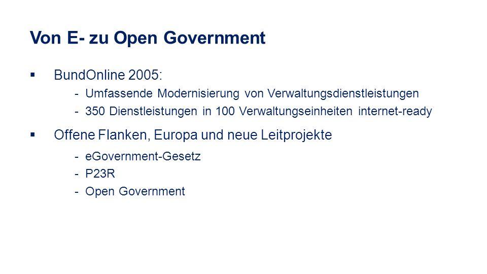 BundOnline 2005: - Umfassende Modernisierung von Verwaltungsdienstleistungen - 350 Dienstleistungen in 100 Verwaltungseinheiten internet-ready Offene