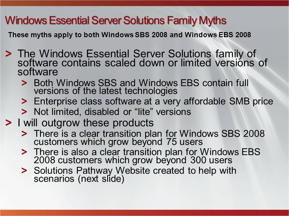 Windows Essential Server Solutions Family Myths The Windows Essential Server Solutions family of software contains scaled down or limited versions of