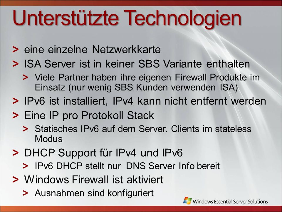 Windows Essential Server Solutions Family Myths These myths apply to both Windows SBS 2008 and Windows EBS 2008 Difficult to transition to Windows EBS or a la carte products Solution Pathway is the Internet site that covers all the customer mobility scenarios to move in, within or outside the family (http://www.microsoft.com/windowsserver/essential/pathway.mspx)http://www.microsoft.com/windowsserver/essential/pathway.mspx Migration guidance to Windows SBS 2008: http://technet.microsoft.com/en- us/library/cc664208.aspxhttp://technet.microsoft.com/en- us/library/cc664208.aspx Migration guidance from Windows SBS to Windows EBS: http://technet.microsoft.com/en- us/library/cc540100.aspx)http://technet.microsoft.com/en- us/library/cc540100.aspx This diagram from the Solutions Pathway Website shows the many ways to migrate inside or outside the Windows Essential Server Solutions family to meet the customer business needs.