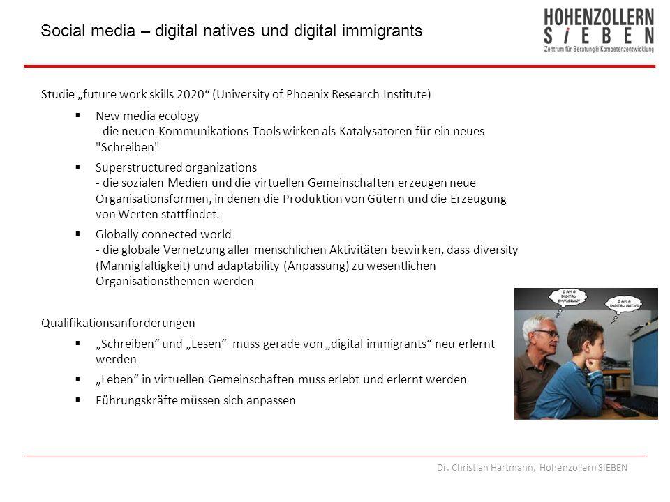 Dr. Christian Hartmann, Hohenzollern SIEBEN Studie future work skills 2020 (University of Phoenix Research Institute) New media ecology - die neuen Ko