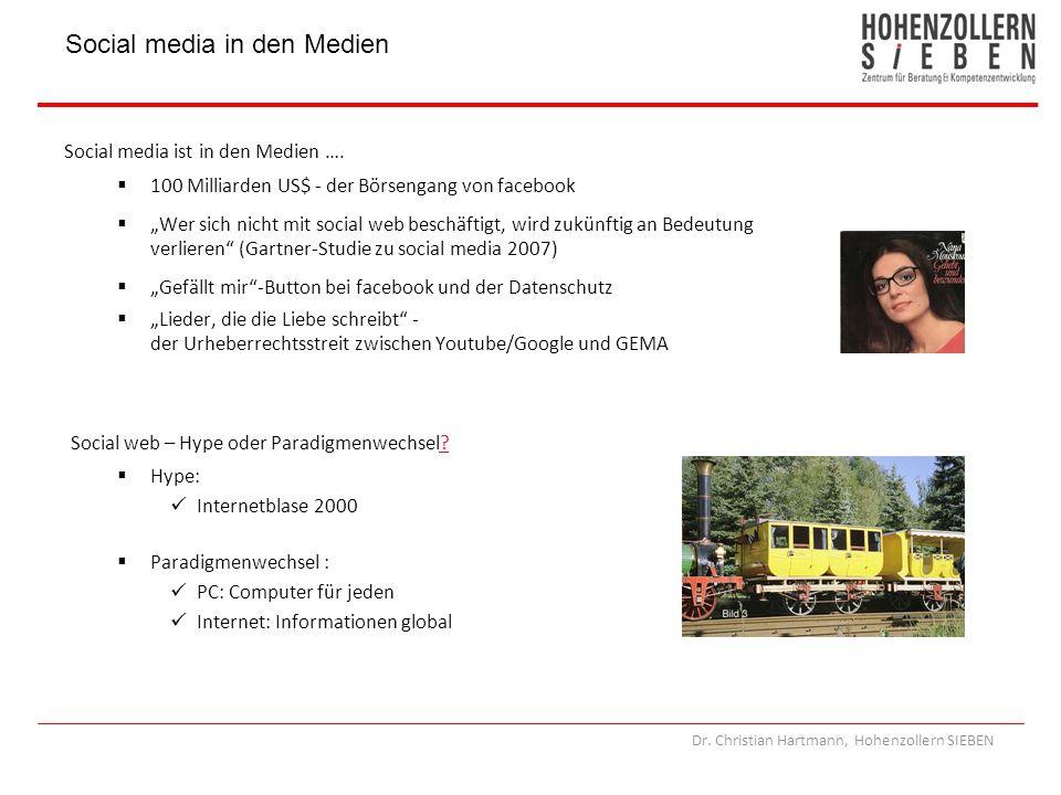 Dr. Christian Hartmann, Hohenzollern SIEBEN Social media in den Medien Social media ist in den Medien …. 100 Milliarden US$ - der Börsengang von faceb