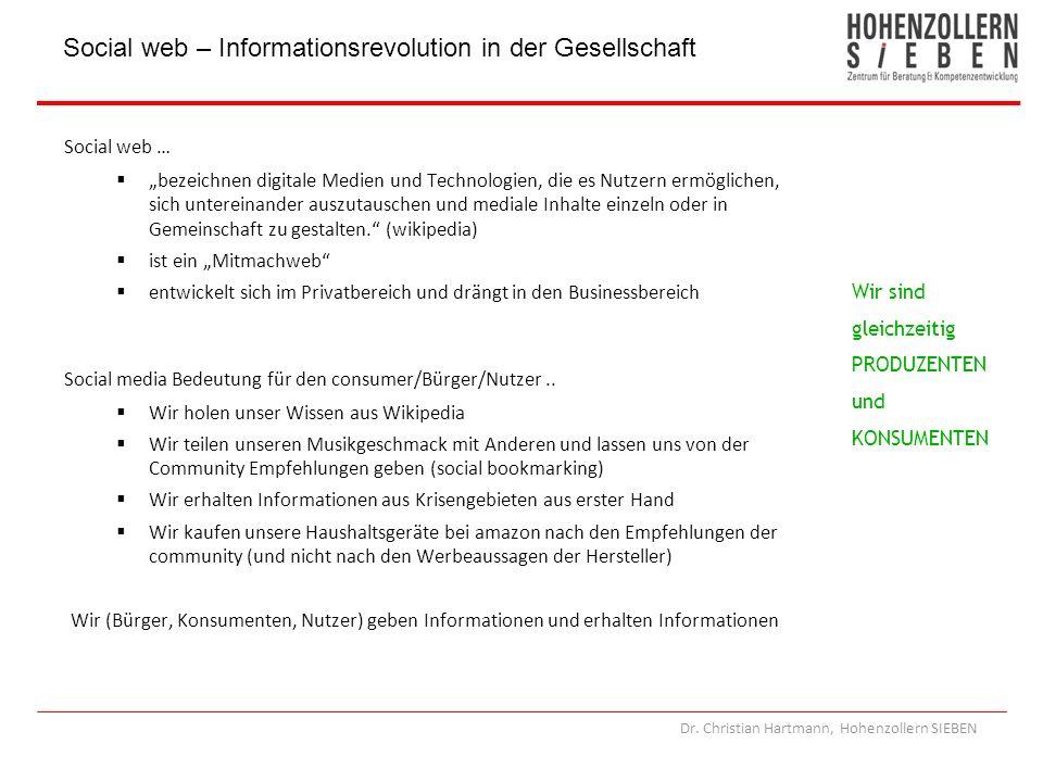 Dr. Christian Hartmann, Hohenzollern SIEBEN Social web … bezeichnen digitale Medien und Technologien, die es Nutzern ermöglichen, sich untereinander a
