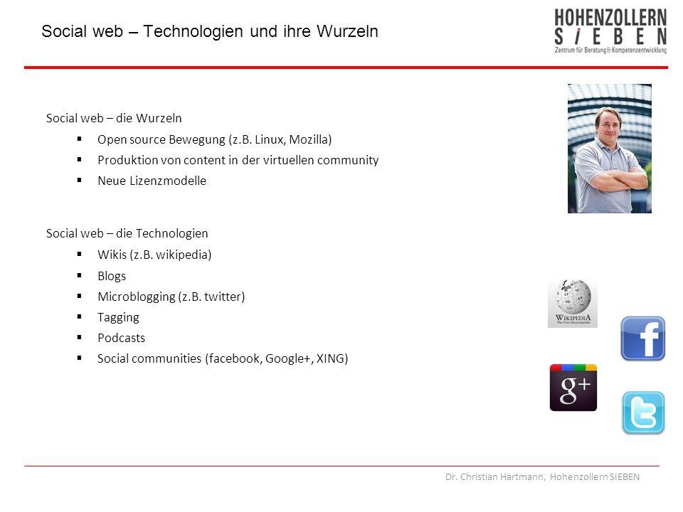 Dr. Christian Hartmann, Hohenzollern SIEBEN Social web – die Wurzeln Open source Bewegung (z.B. Linux, Mozilla) Produktion von content in der virtuell