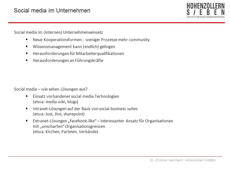 Dr. Christian Hartmann, Hohenzollern SIEBEN Social media im (internen) Unternehmenseinsatz Neue Kooperationsformen : weniger Prozesse mehr community W