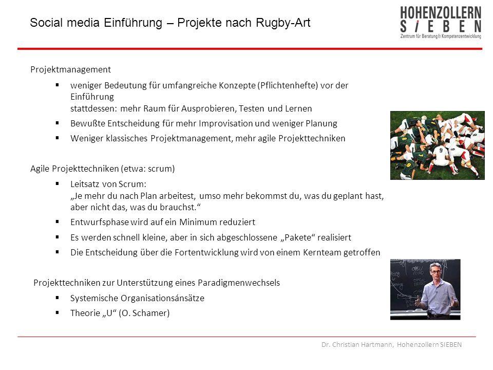 Dr. Christian Hartmann, Hohenzollern SIEBEN Projektmanagement weniger Bedeutung für umfangreiche Konzepte (Pflichtenhefte) vor der Einführung stattdes