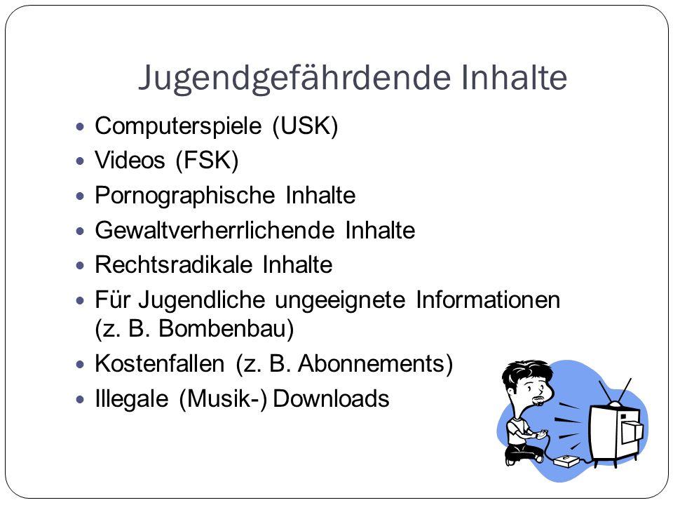 Jugendgefährdende Inhalte Computerspiele (USK) Videos (FSK) Pornographische Inhalte Gewaltverherrlichende Inhalte Rechtsradikale Inhalte Für Jugendliche ungeeignete Informationen (z.