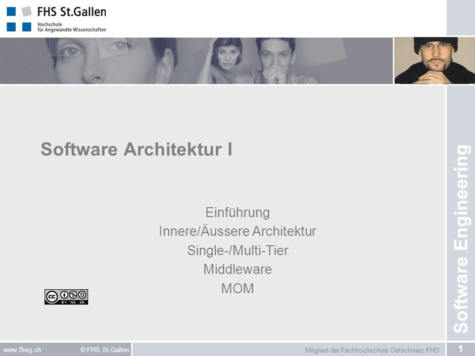 Mitglied der Fachhochschule Ostschweiz FHO 1 www.fhsg.ch © FHS St.Gallen Software Engineering Software Architektur I Einführung Innere/Äussere Archite