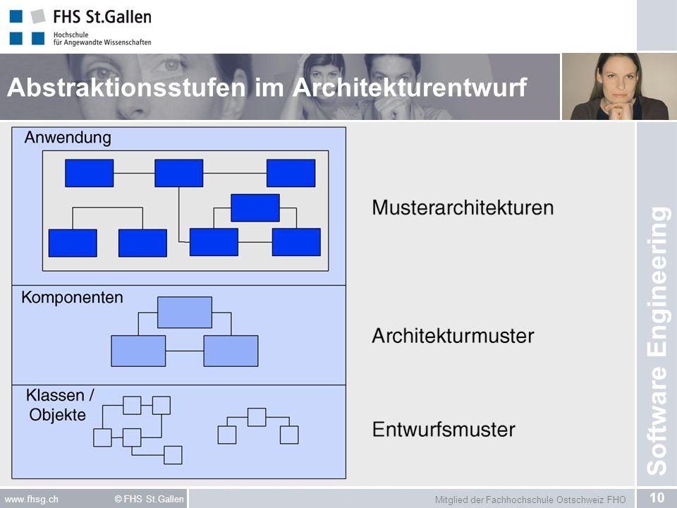 Mitglied der Fachhochschule Ostschweiz FHO 10 www.fhsg.ch © FHS St.Gallen Software Engineering Abstraktionsstufen im Architekturentwurf