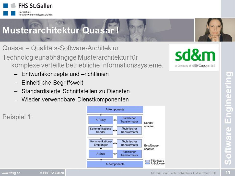 Mitglied der Fachhochschule Ostschweiz FHO 11 www.fhsg.ch © FHS St.Gallen Software Engineering Musterarchitektur Quasar I Quasar – Qualitäts-Software-