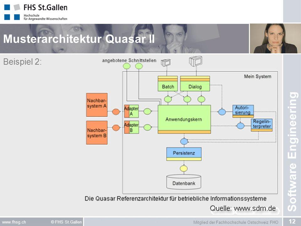 Mitglied der Fachhochschule Ostschweiz FHO 12 www.fhsg.ch © FHS St.Gallen Software Engineering Musterarchitektur Quasar II Beispiel 2: