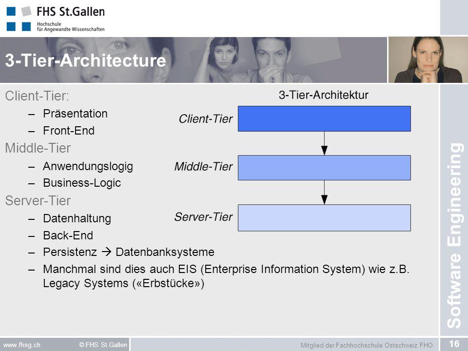 Mitglied der Fachhochschule Ostschweiz FHO 16 www.fhsg.ch © FHS St.Gallen Software Engineering 3-Tier-Architecture Client-Tier: –Präsentation –Front-E