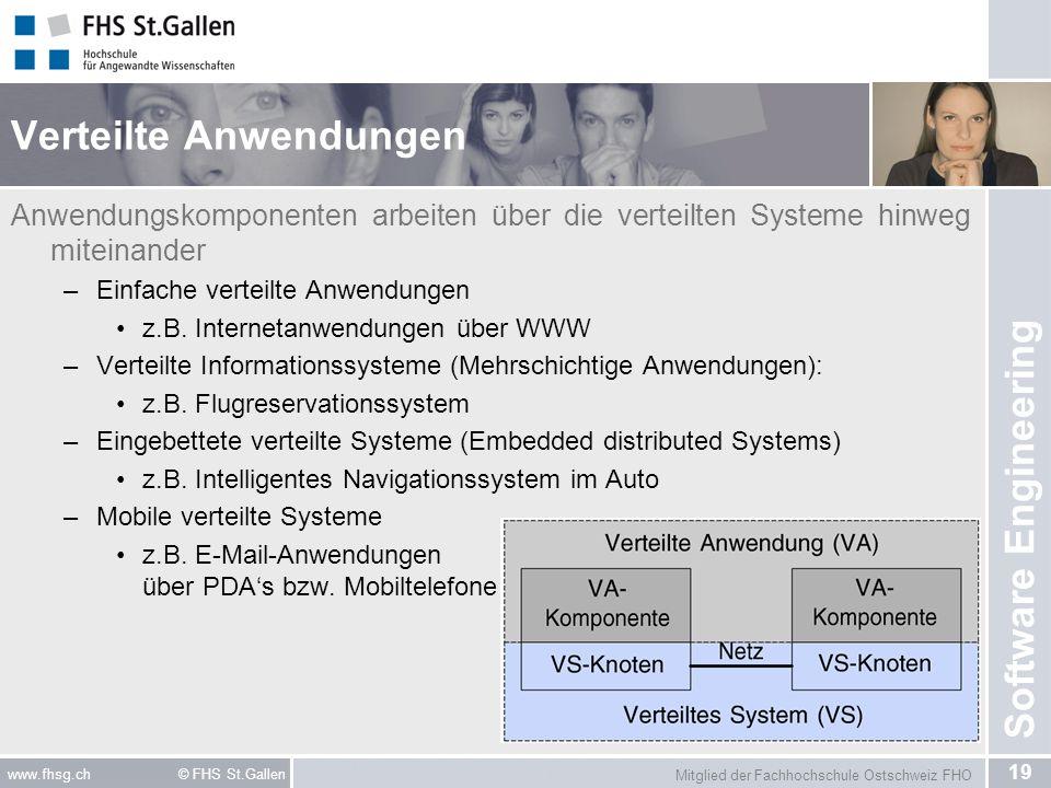 Mitglied der Fachhochschule Ostschweiz FHO 19 www.fhsg.ch © FHS St.Gallen Software Engineering Verteilte Anwendungen Anwendungskomponenten arbeiten üb