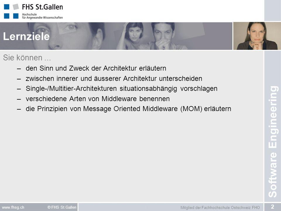 Mitglied der Fachhochschule Ostschweiz FHO 2 www.fhsg.ch © FHS St.Gallen Software Engineering Lernziele Sie können... –den Sinn und Zweck der Architek