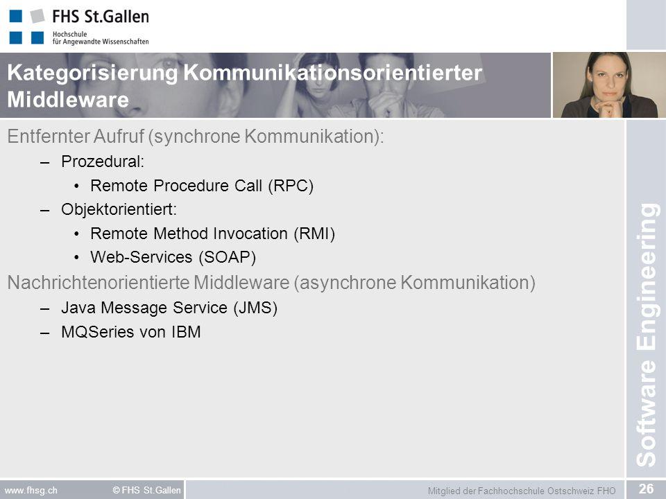 Mitglied der Fachhochschule Ostschweiz FHO 26 www.fhsg.ch © FHS St.Gallen Software Engineering Kategorisierung Kommunikationsorientierter Middleware E