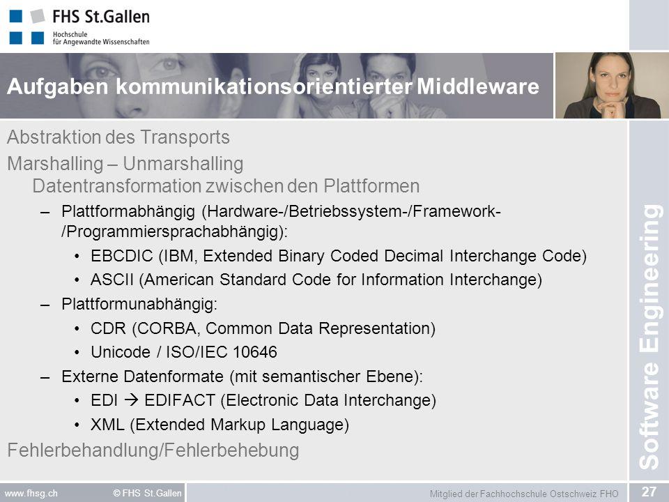 Mitglied der Fachhochschule Ostschweiz FHO 27 www.fhsg.ch © FHS St.Gallen Software Engineering Aufgaben kommunikationsorientierter Middleware Abstrakt