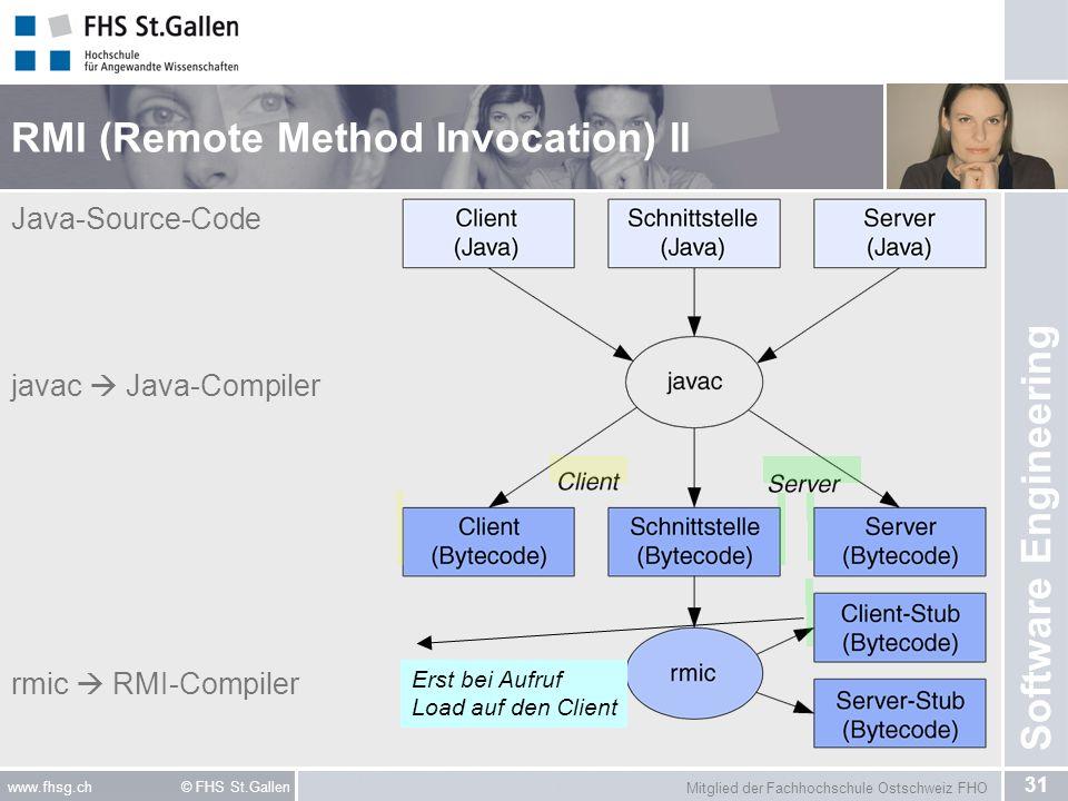 Mitglied der Fachhochschule Ostschweiz FHO 31 www.fhsg.ch © FHS St.Gallen Software Engineering RMI (Remote Method Invocation) II Java-Source-Code java